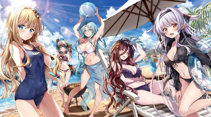 yande.re 674528 sample bikini horns kakao rantan pointy ears school swimsuit sentouin hakenshimasu swimsuits tail